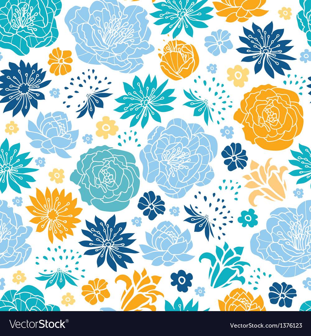 Blue and yellow flowersilhouettes seamless pattern