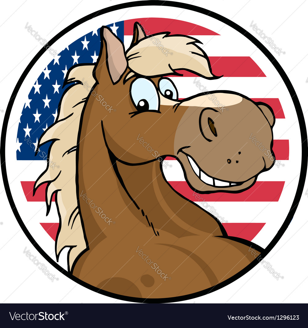 Cartoon Horse In Front Of Flag Of USA