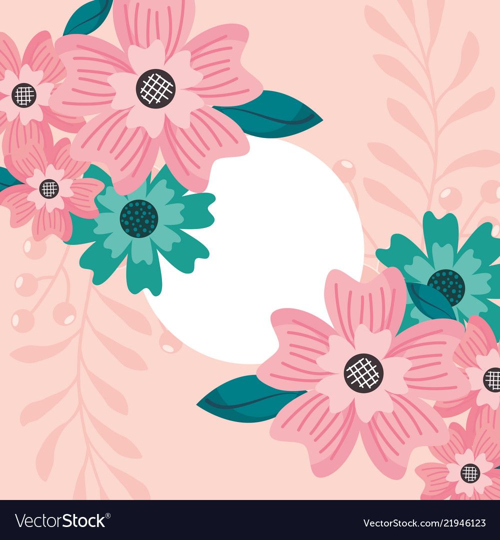 floral label template flowers leaves decoration vector image