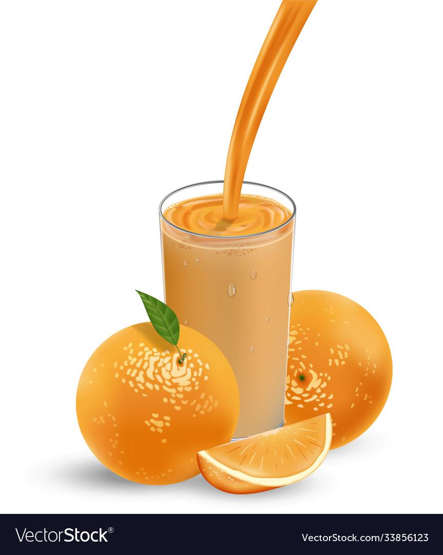Fresh orange fruit with green leaves orange juice