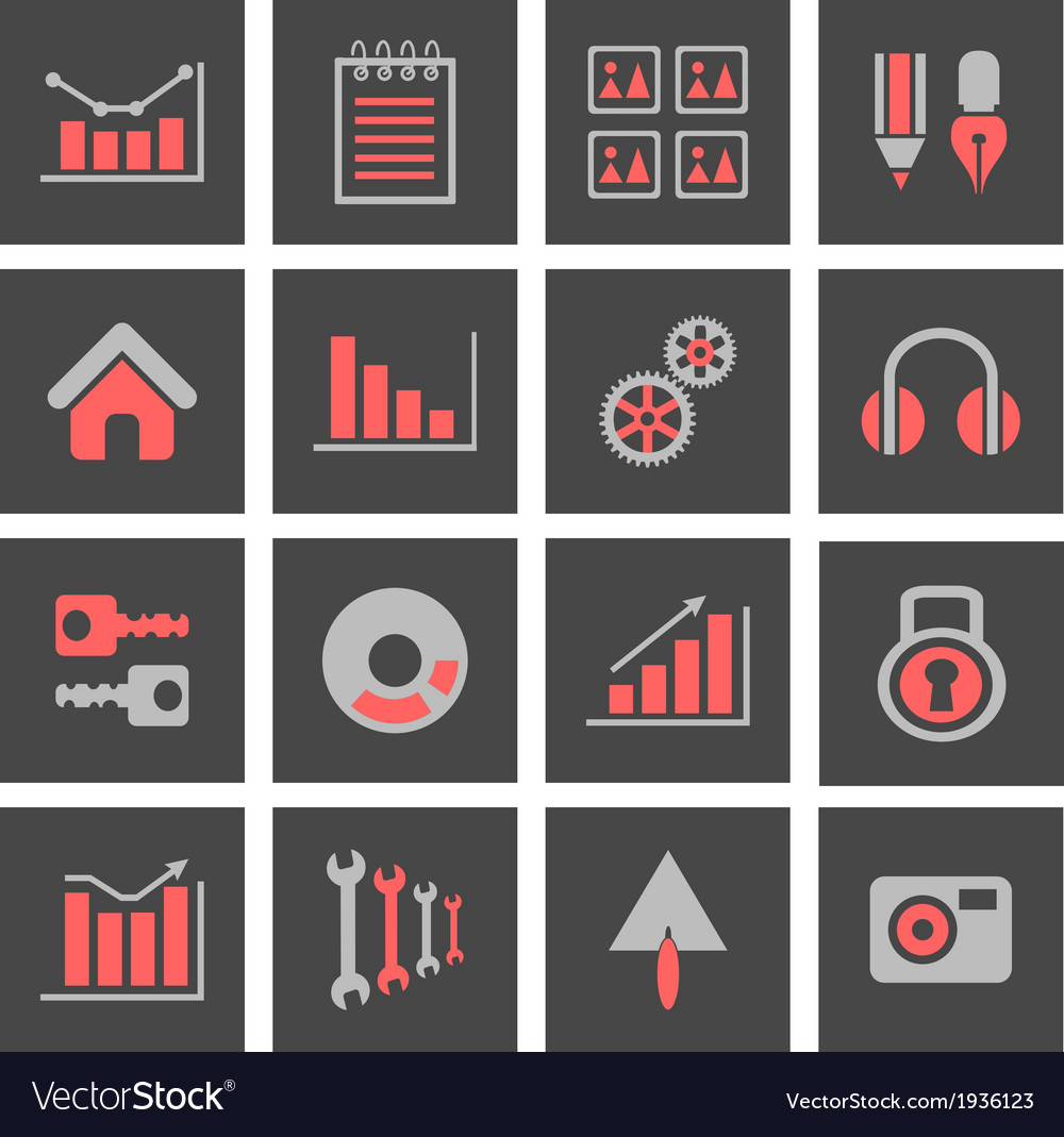 Icons with charts and graphs