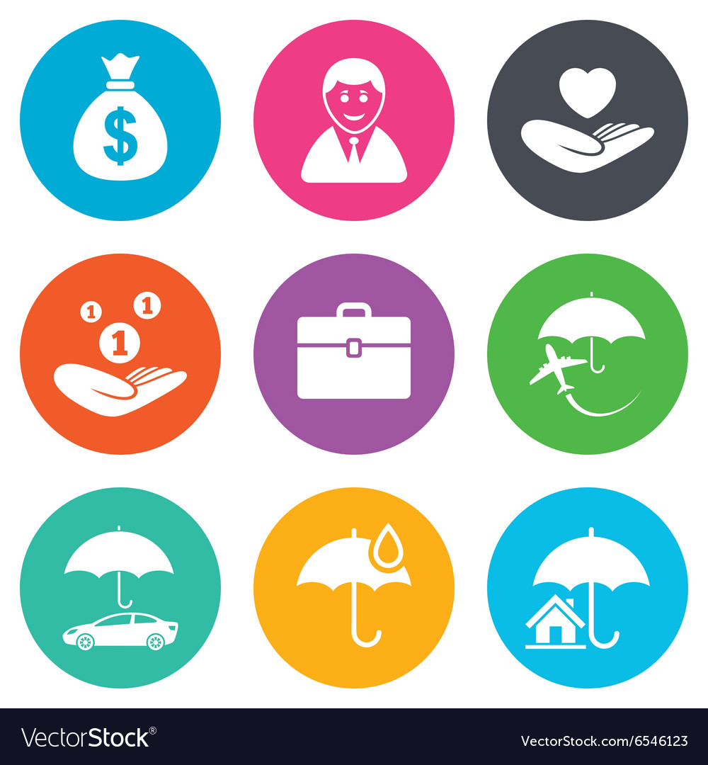 Insurance icons Life Real estate and House