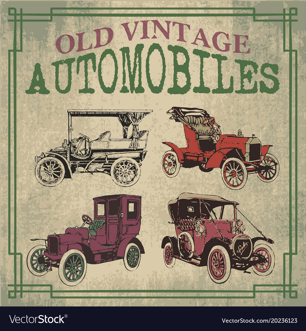 Old vintage automobiles designs Royalty Free Vector Image