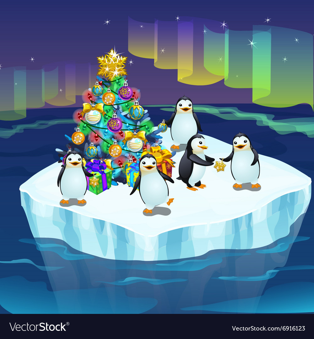 Penguins at the North pole with a Christmas tree Vector Image