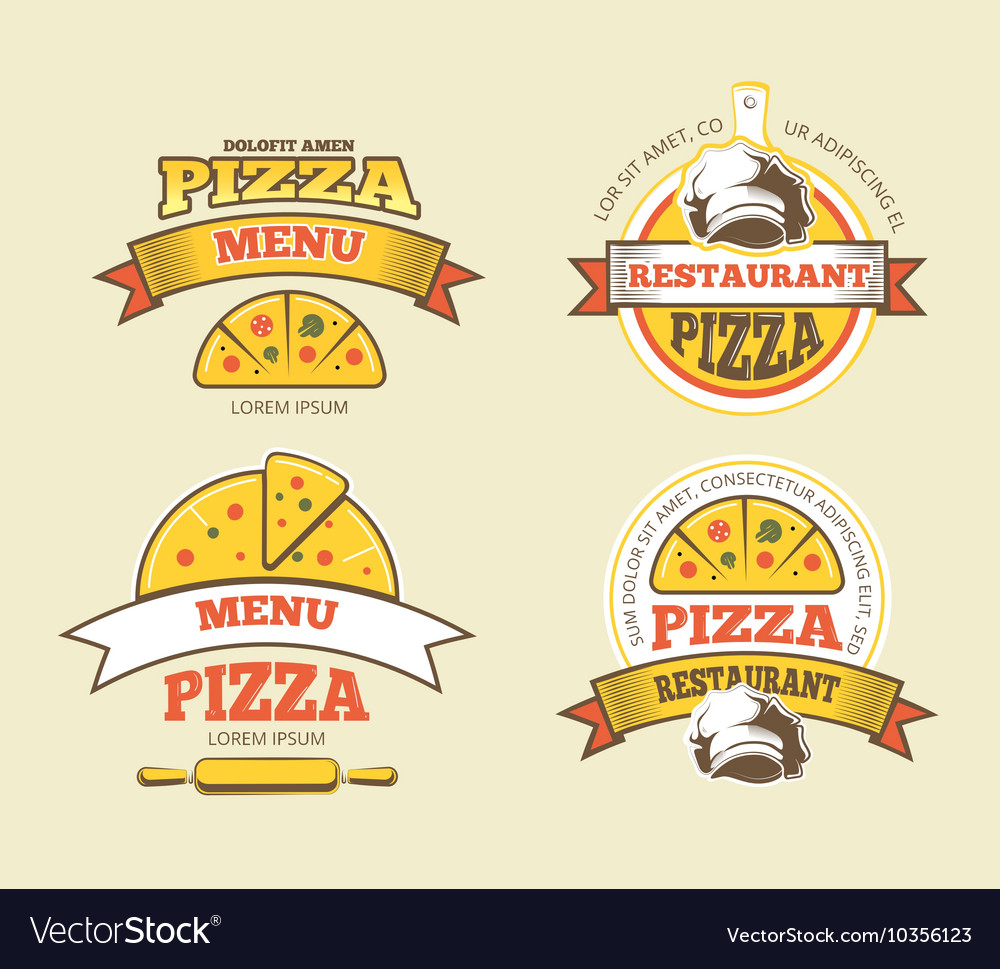 Pizza labels logos badges emblems for