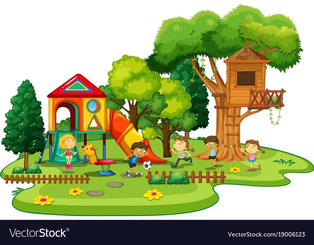 Playground scene with children playing