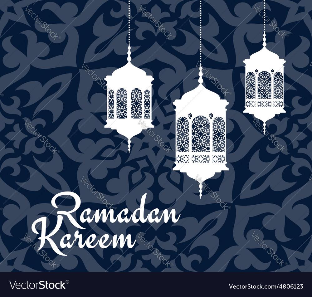 Ramadan kareem greeting card with arabic lanterns vector image m4hsunfo