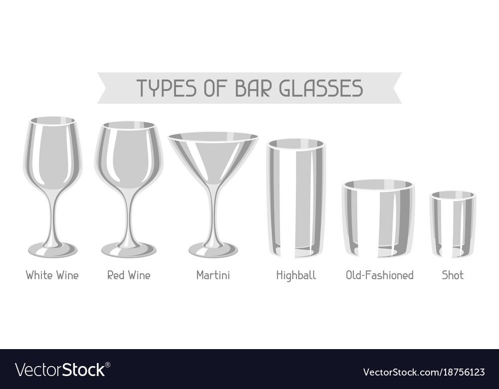 types of bar glasses set of alcohol glassware vector image. Black Bedroom Furniture Sets. Home Design Ideas
