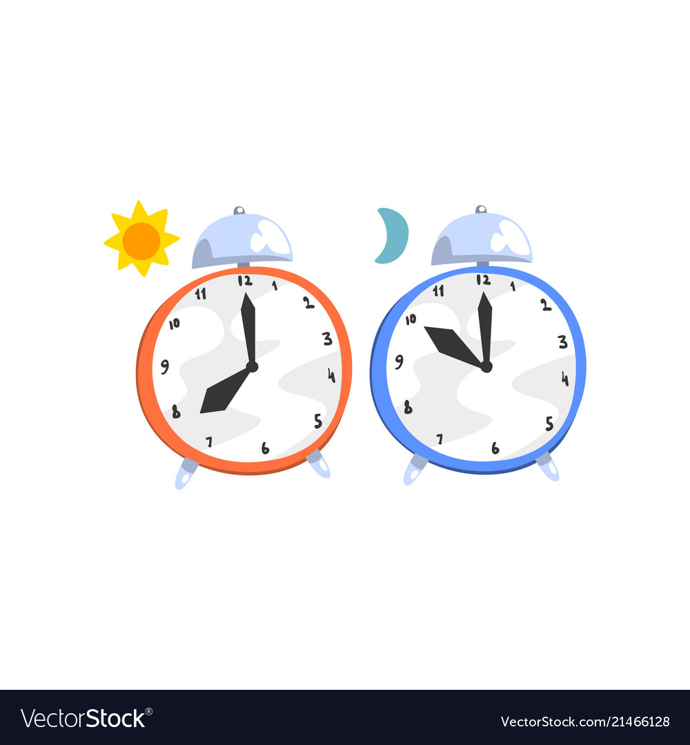 Alarm clocks day and night concept