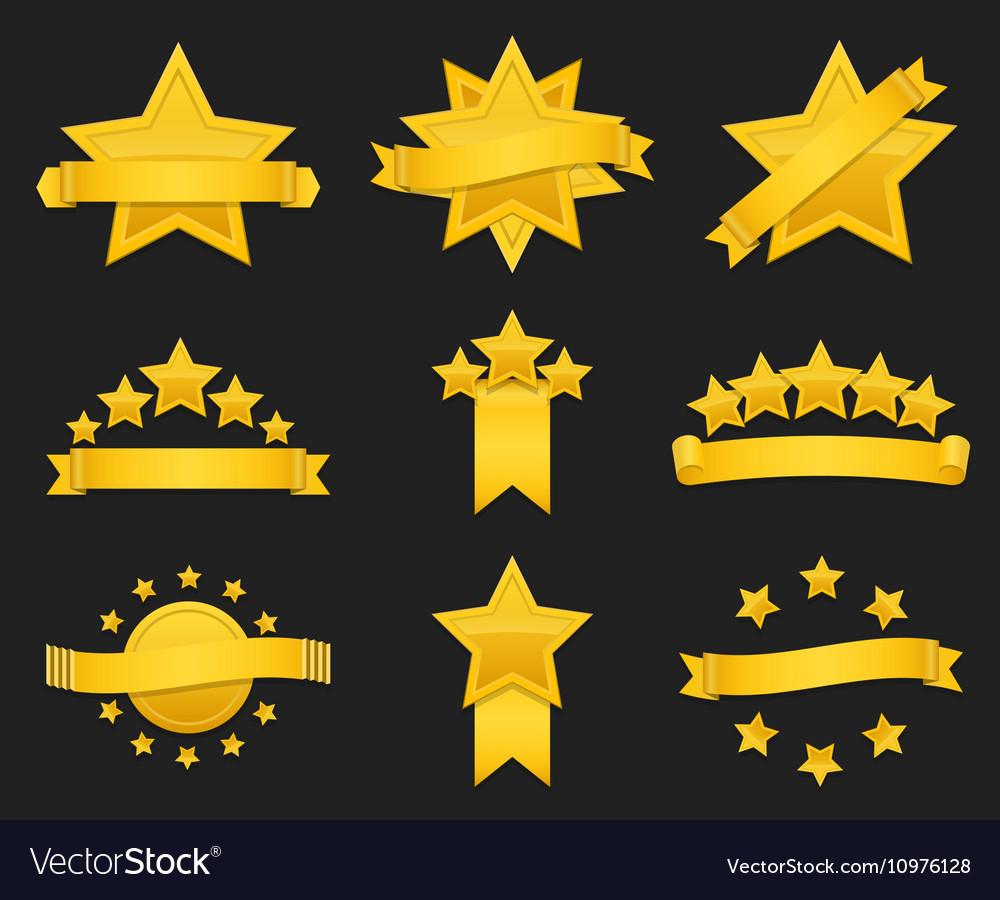 Award ribbon with gold star vector image