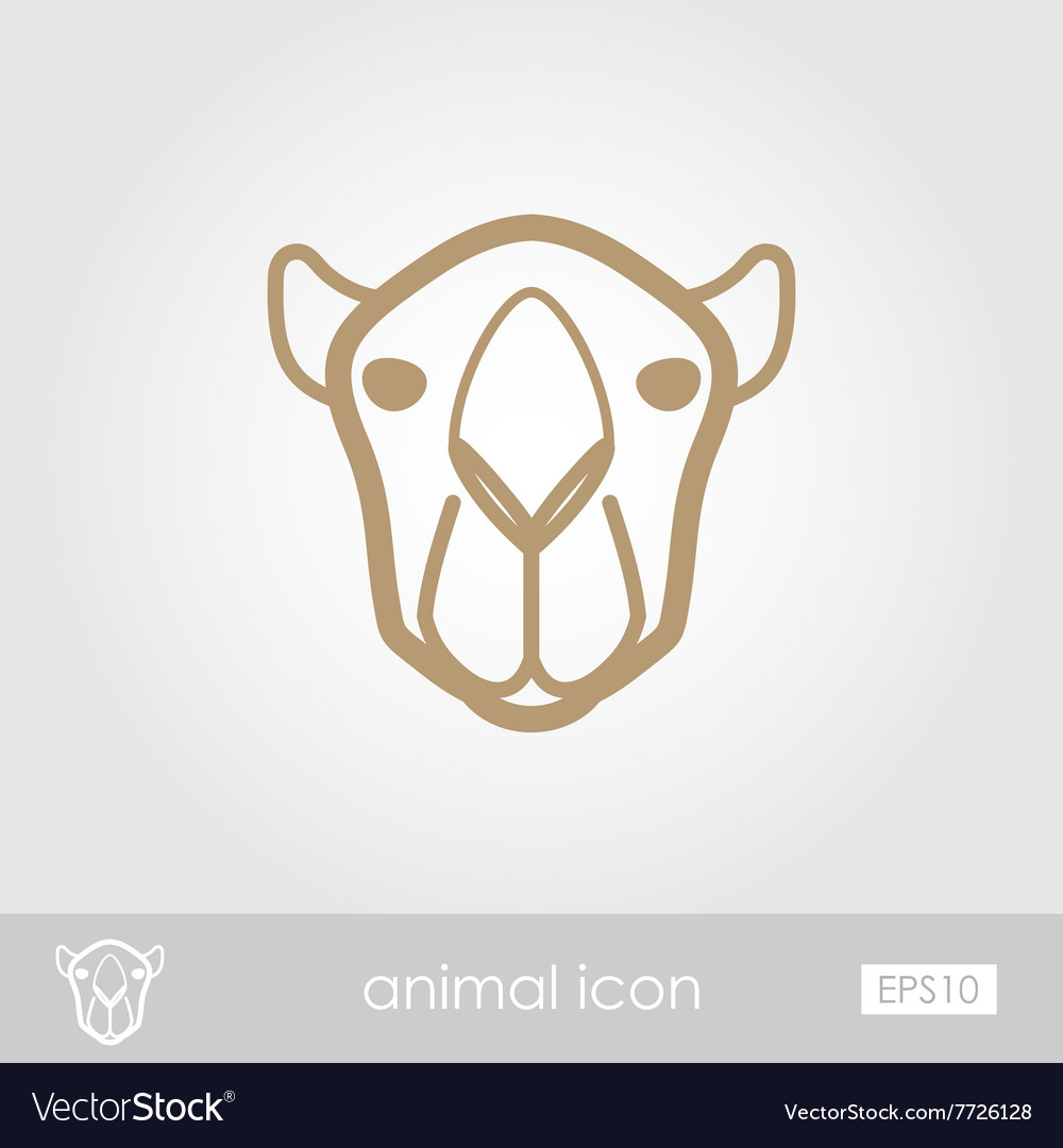 Camel outline thin icon Animal head symbol