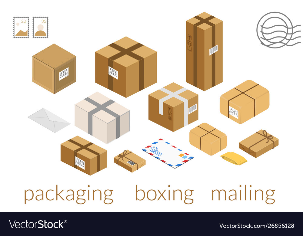 Carton boxes set isometric box packing stages