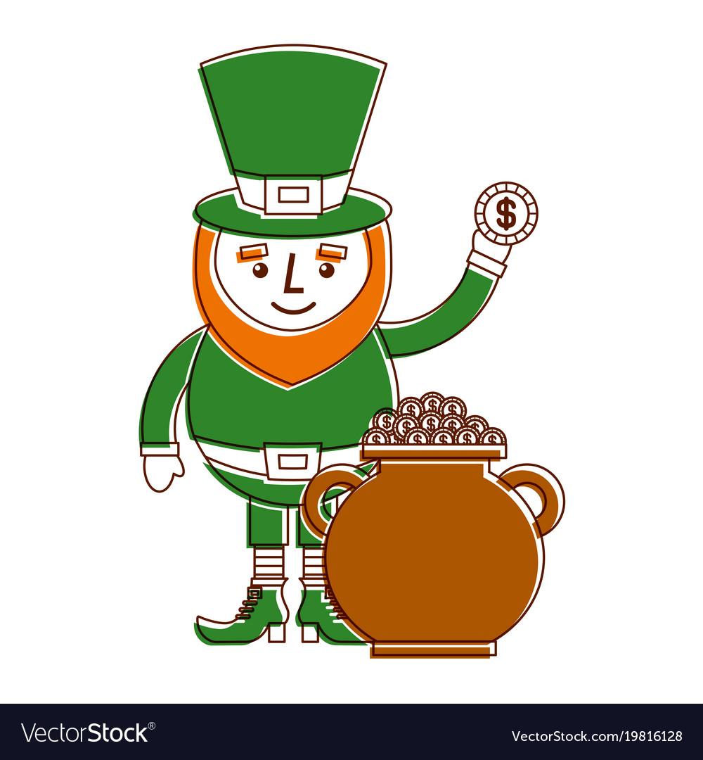 Cartoon leprechaun holding gold coin and pot money