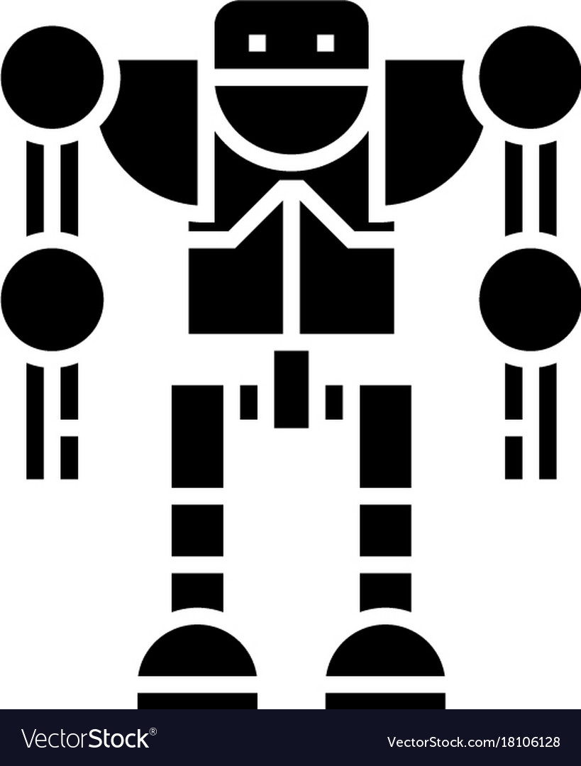 Robot - droid icon black vector image