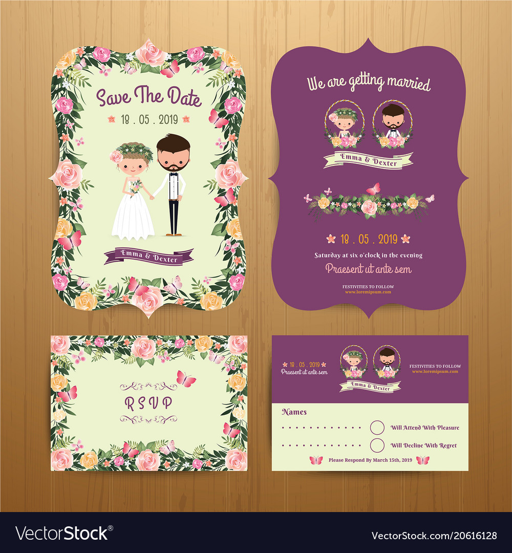 Rustic Blossom Flowers Cartoon Couple Wedding Vector Image