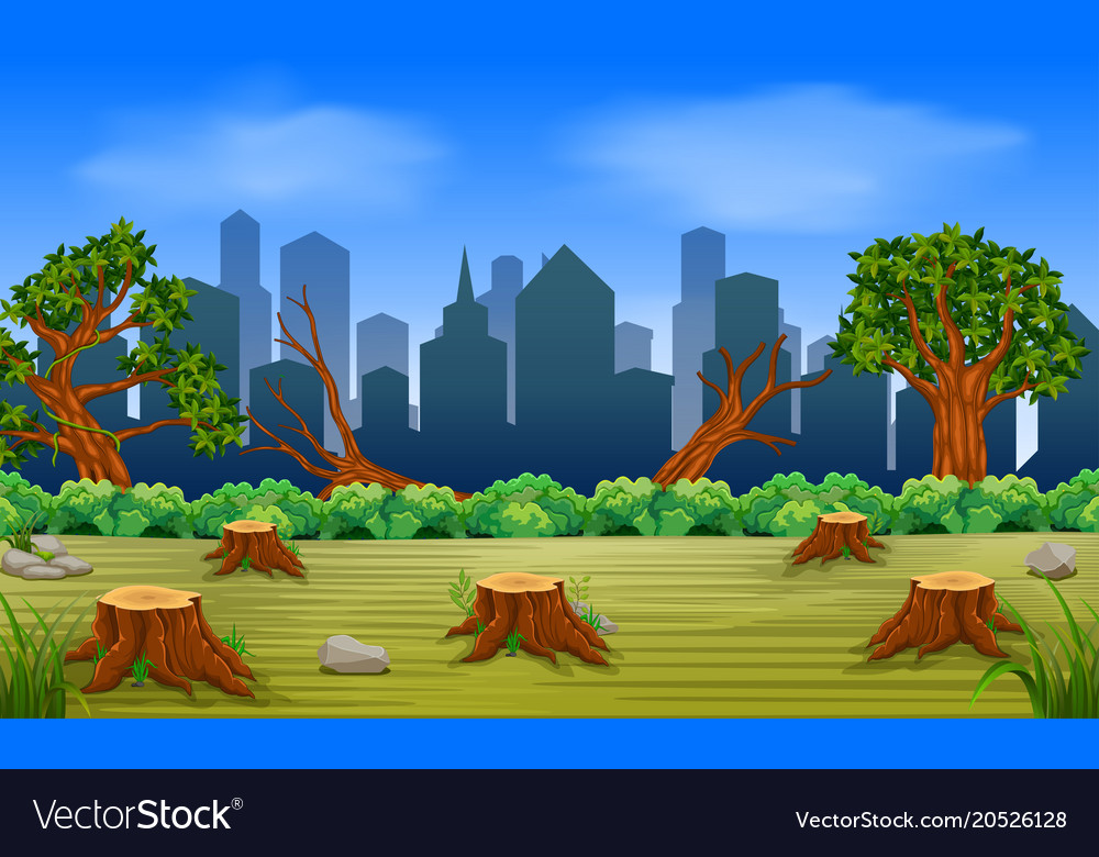 Scenes of deforestation and building