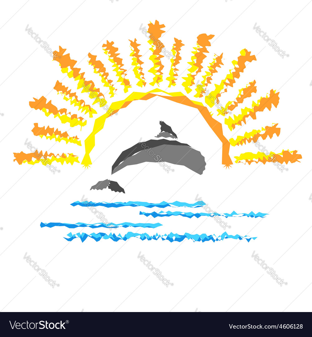 Seascape with a dolphin template logo travel