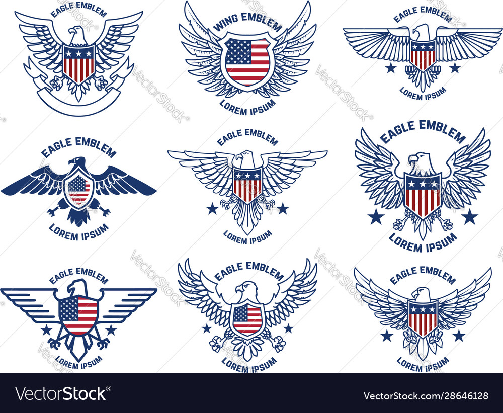 Set emblems with eagles and usa flags design