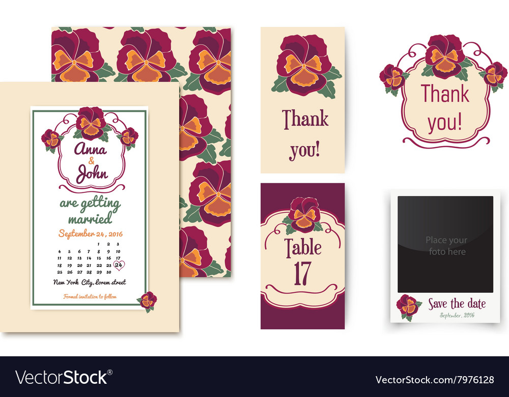 Set of invitation cards with floral badge