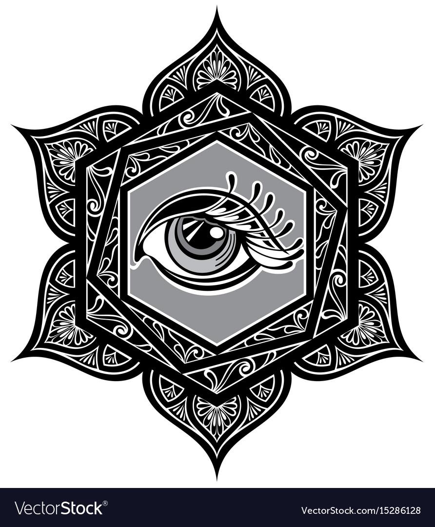 Tattoo mandala with eye