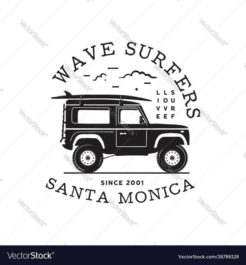 Vintage surf logo print design for t-shirt and