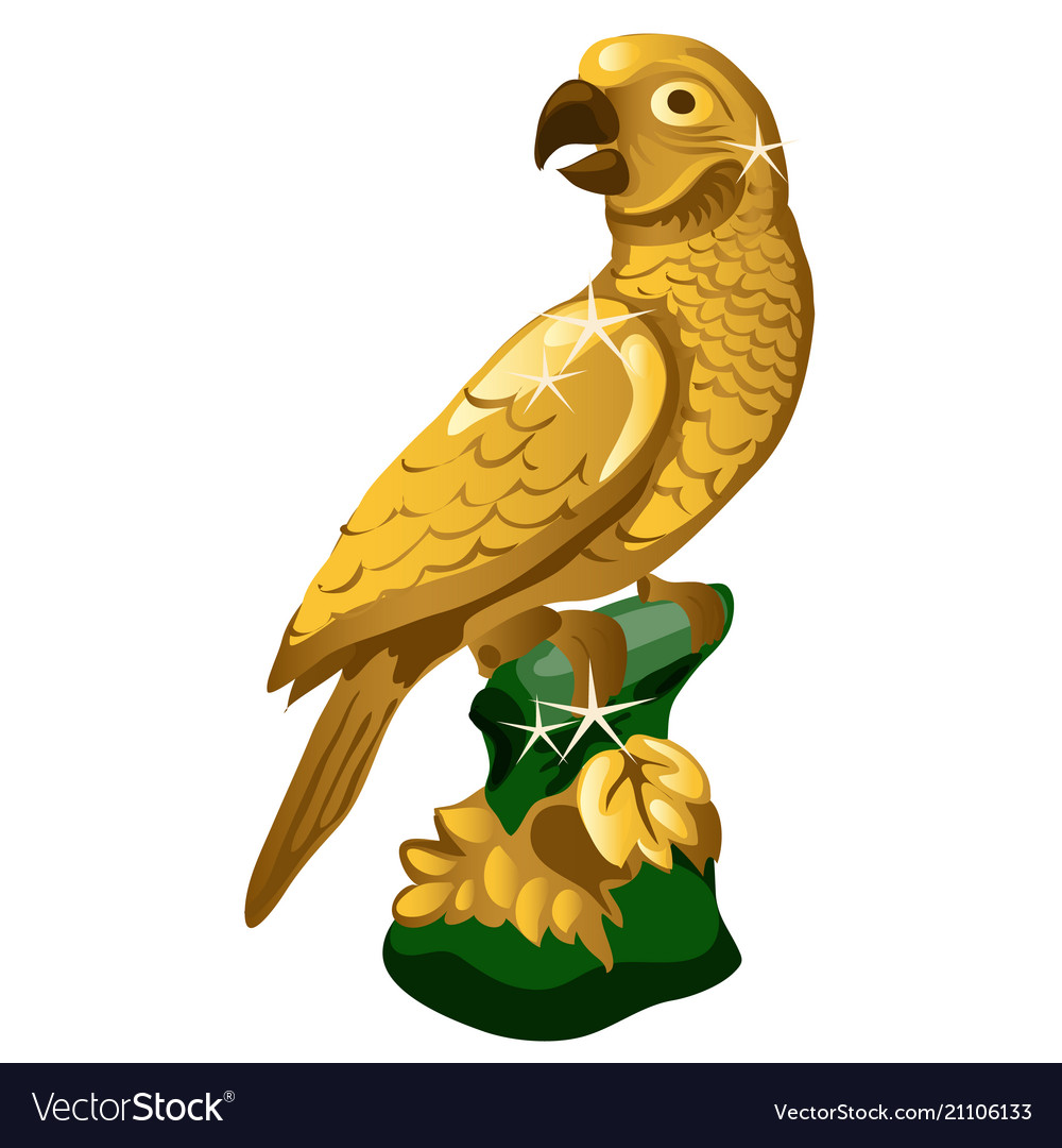 A golden statue of a parrot isolated on white