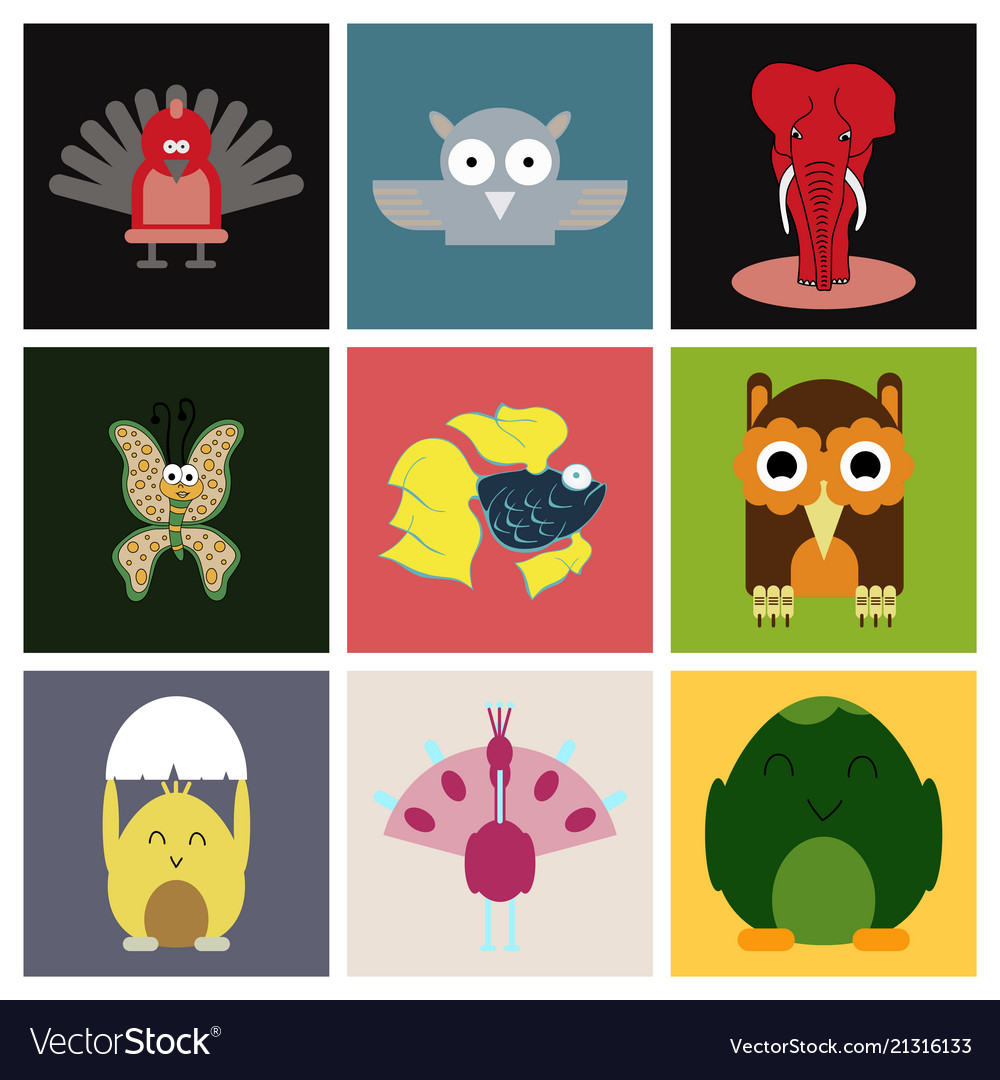 Cartoon cute animals for baby card and invitation