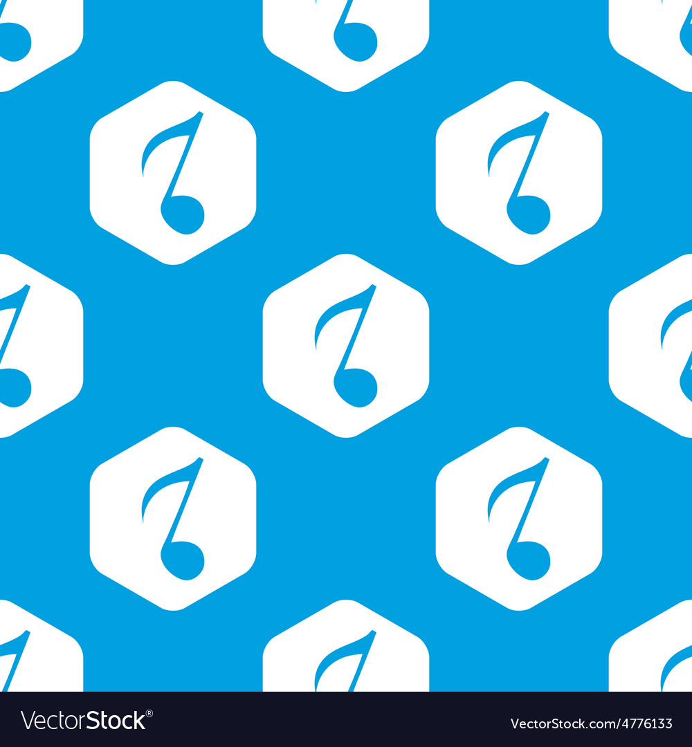 Eighth note hexagon pattern Royalty Free Vector Image