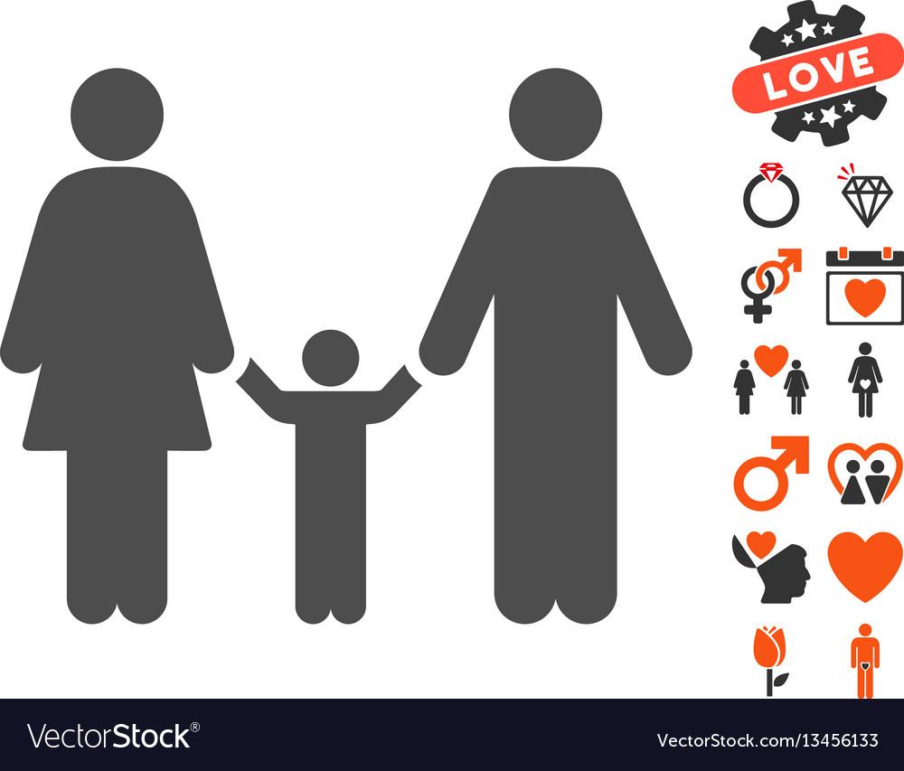 Family child icon with valentine bonus