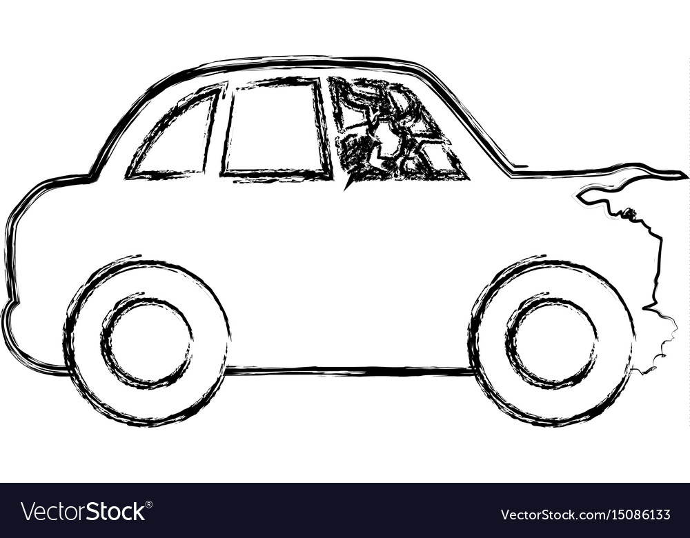 Figure crash car and dangerous automobile accident vector image