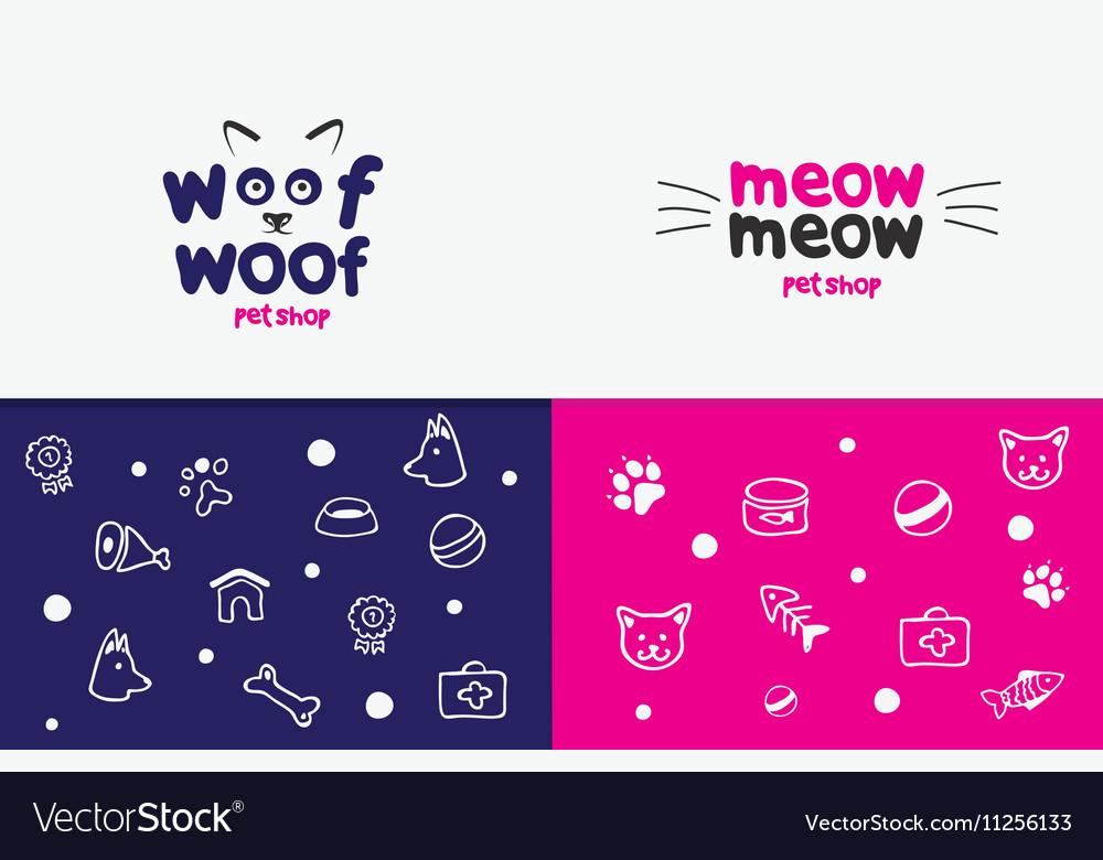 Logo emblem label design elements for pet