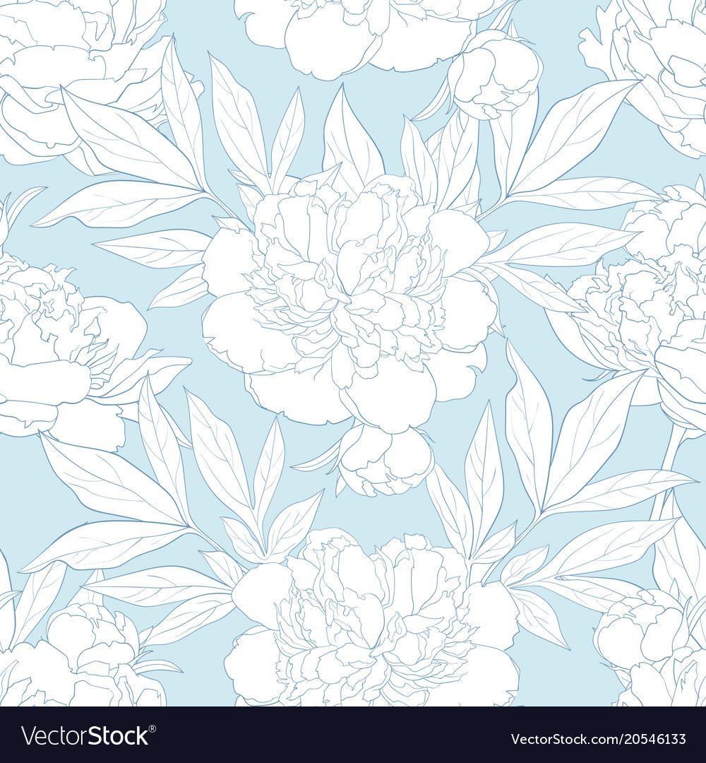 Peony seamless pattern in white and blue colors