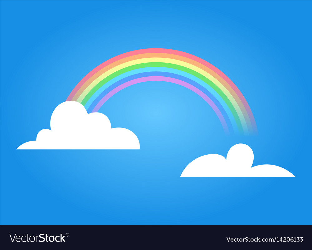 Rainbow with clouds vector image