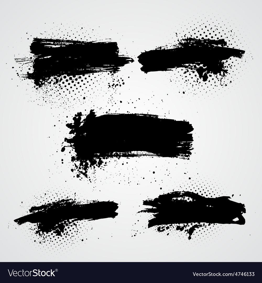 Set of black grunge splash banners Can be vector image