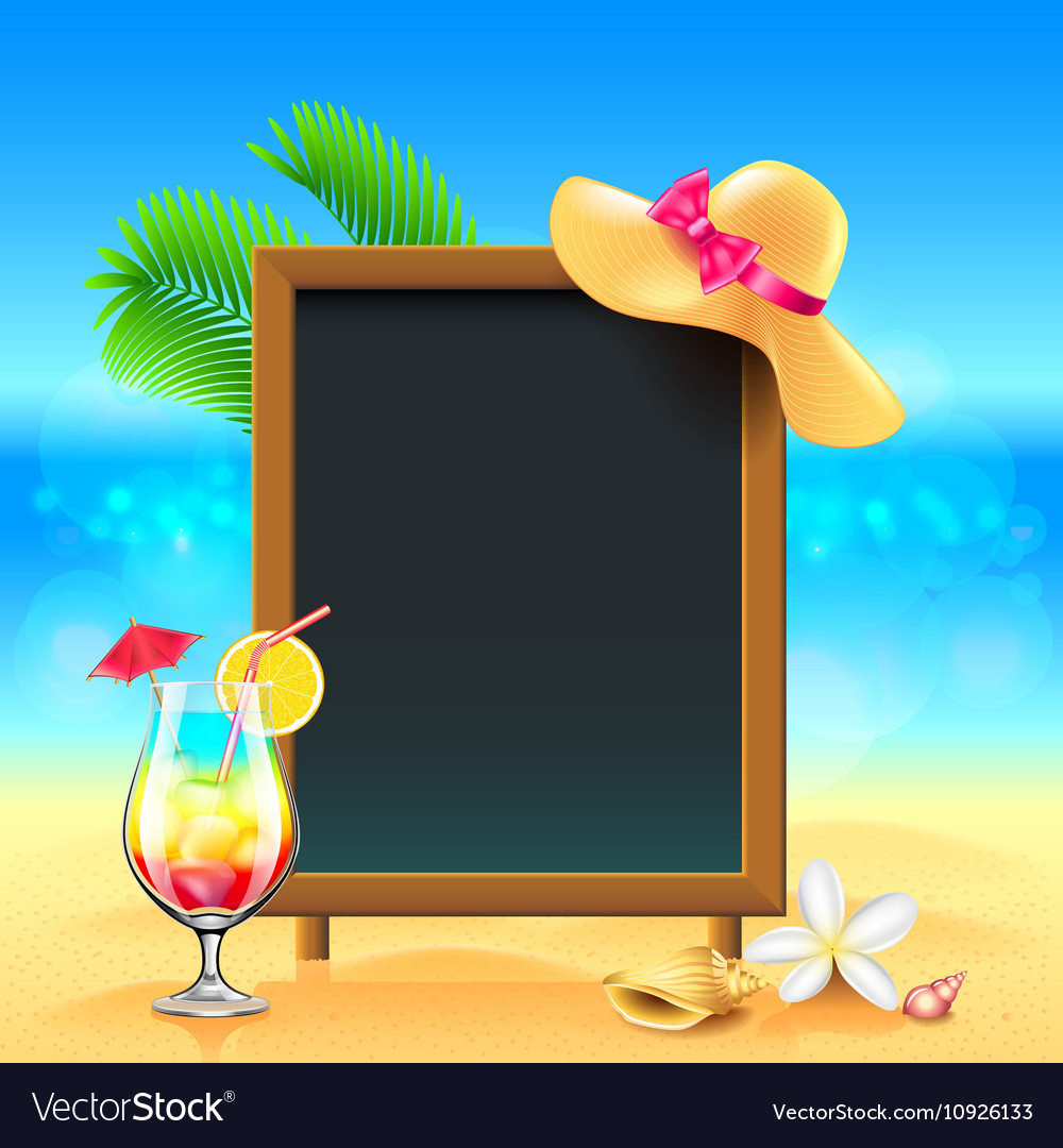 Summer vacation background with cocktail and menu