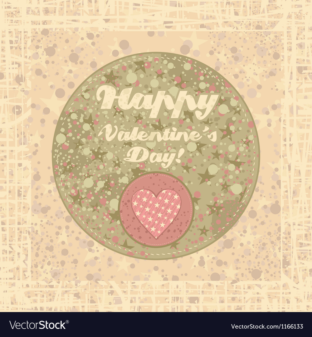 Valentines Day badge on abstract background