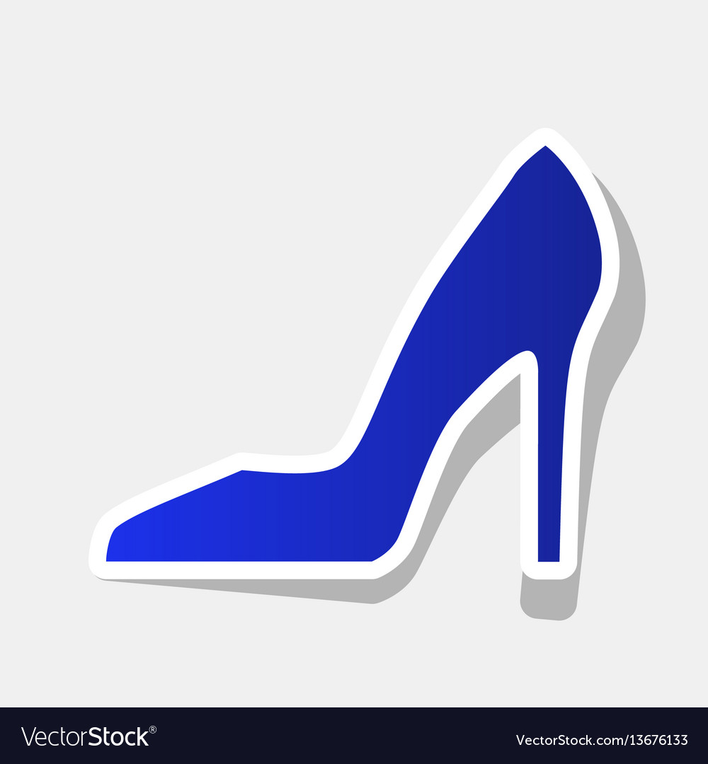 Woman shoe sign new year bluish icon with
