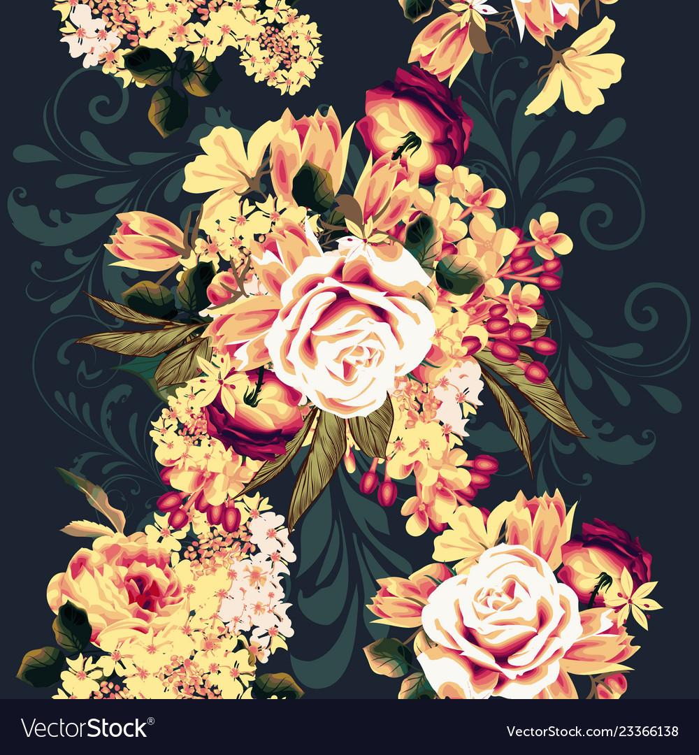 Beautiful seamless wallpaper pattern with rose