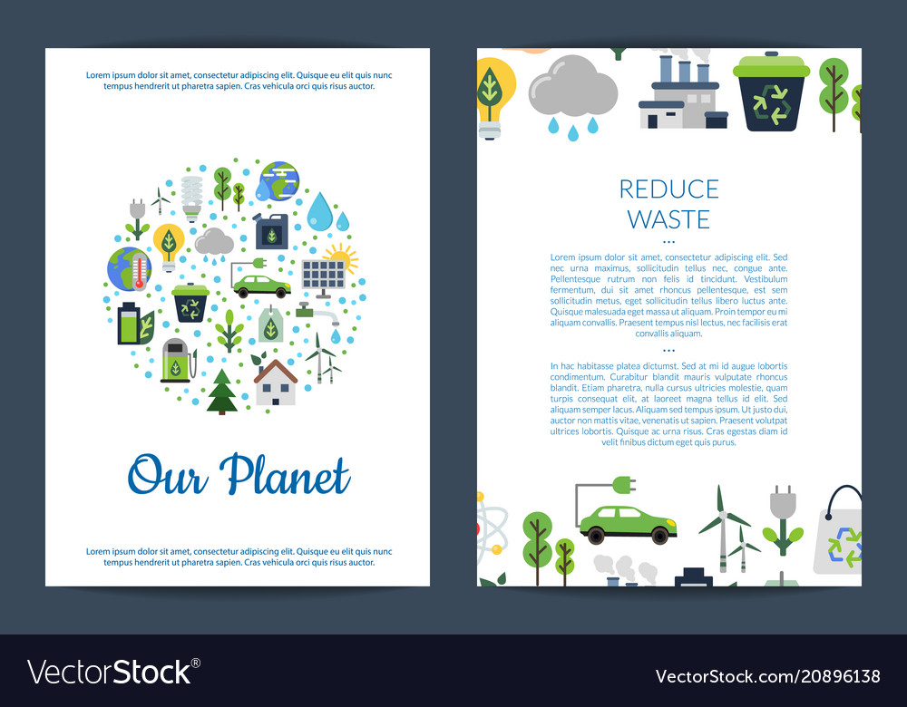 Card or flyer templates set with ecology