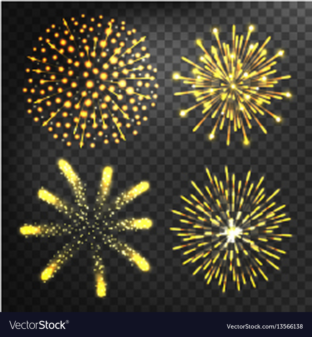 Firework different shapes colorful festive
