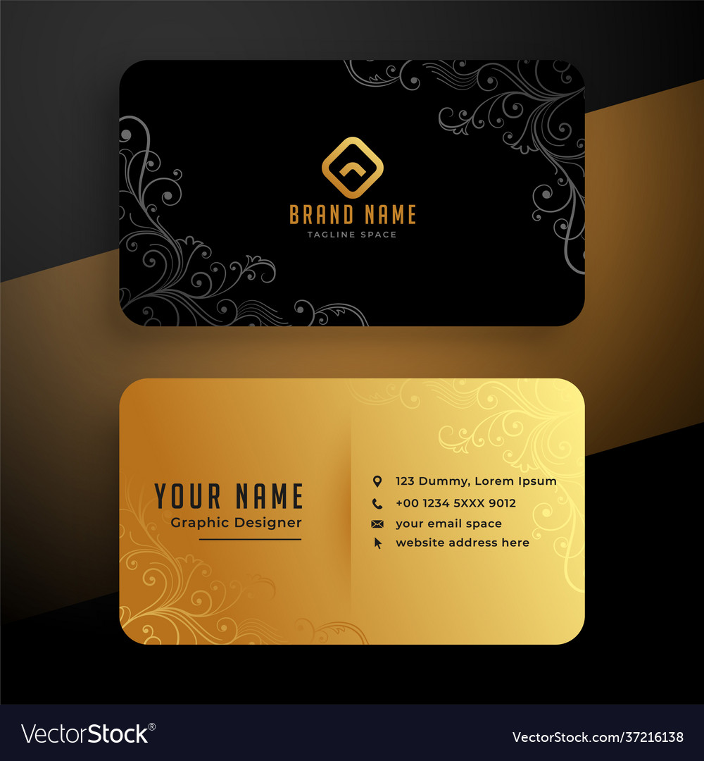 Golden floral business card template design