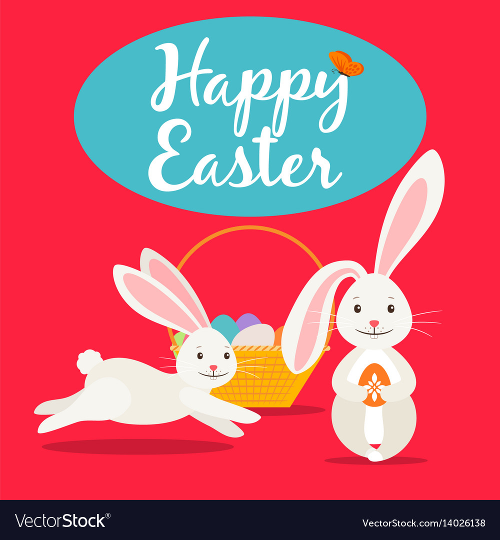 Happy easter cute greeting card
