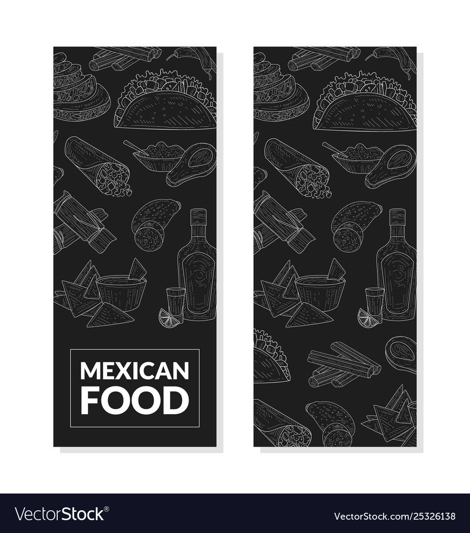 Mexican food banner template with hand drawn