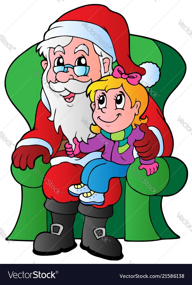 Santa claus and small girl