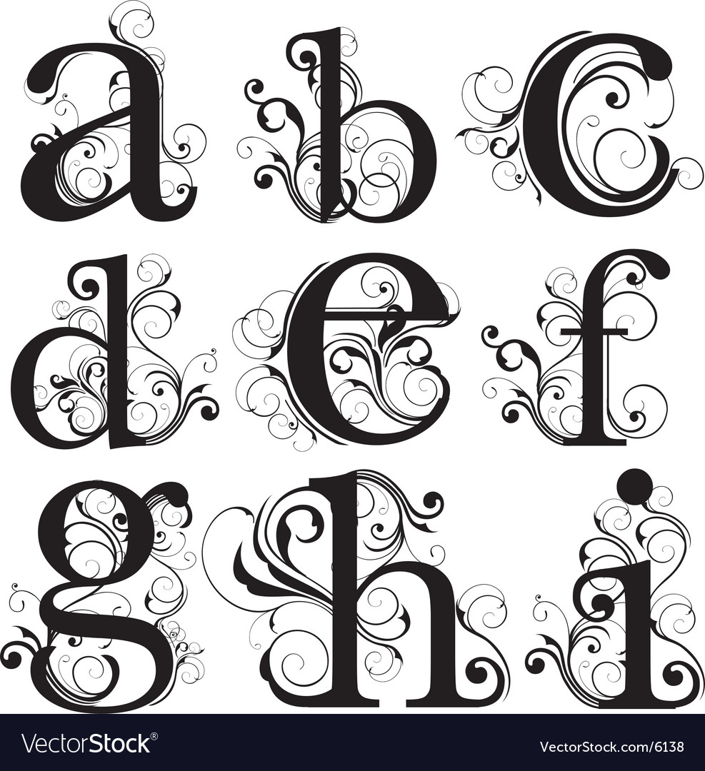 Script lower case vector image
