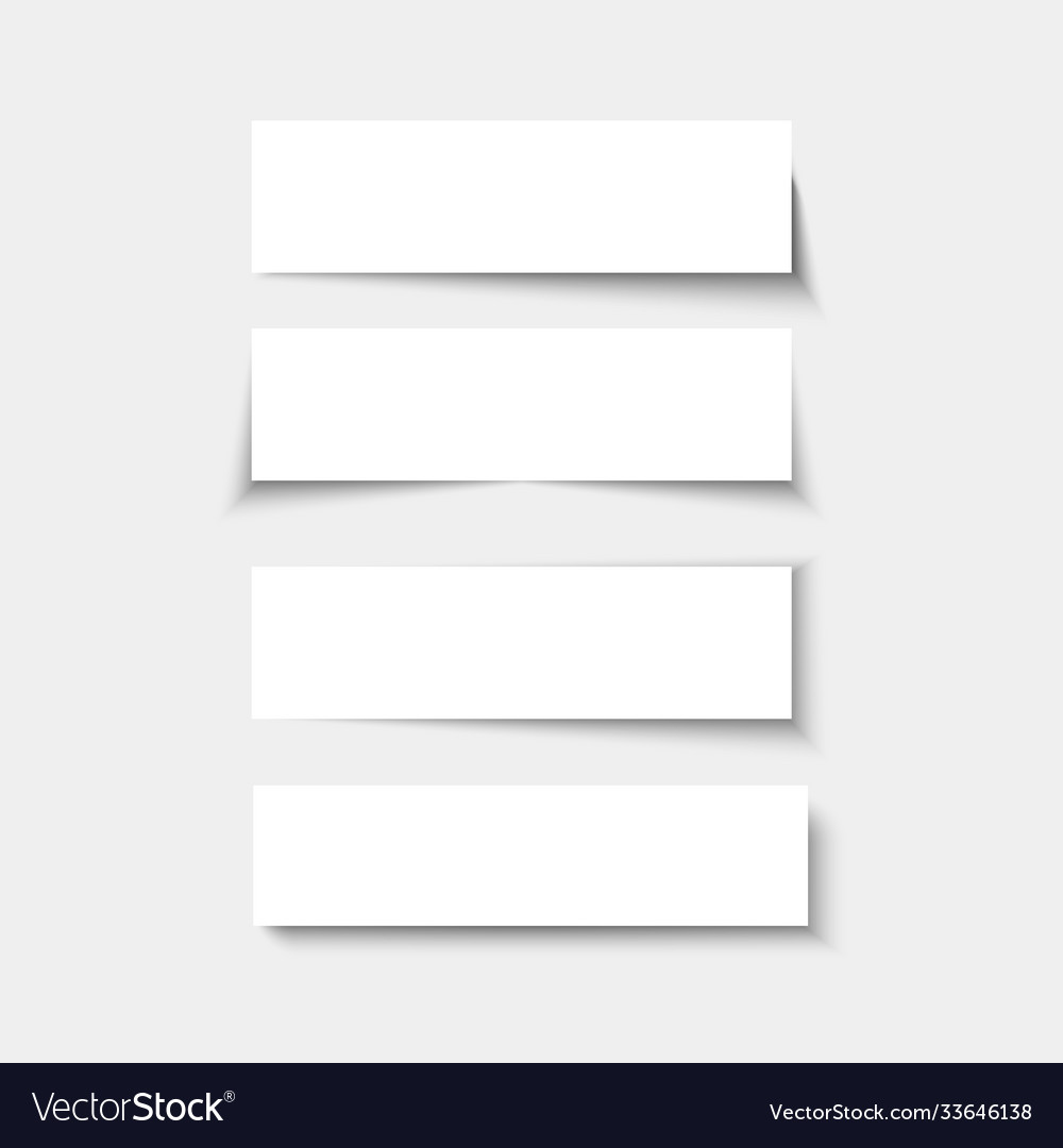 Set banners with shadows empty rectangle