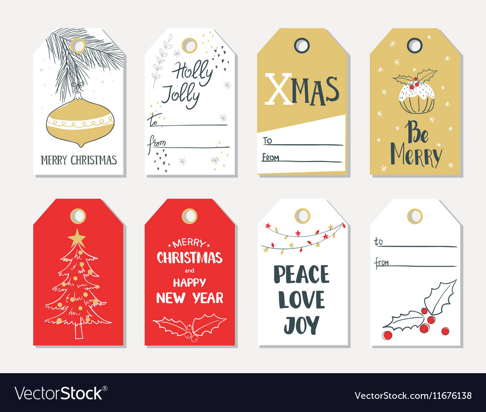 set of hand draw christmas gift tags royalty free vector