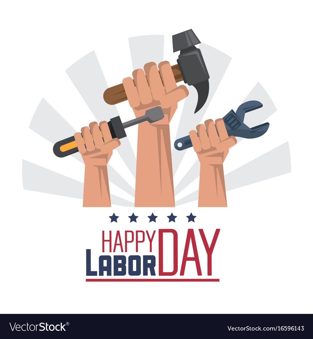 Colorful poster of happy labor day with hands with