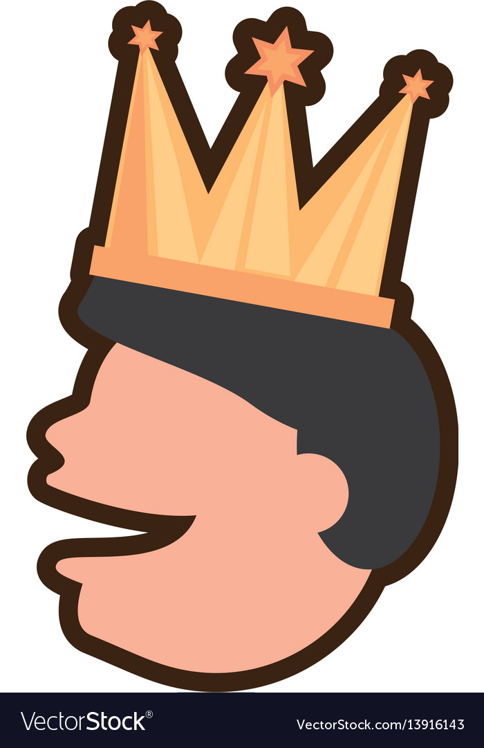 Face man smile with crown