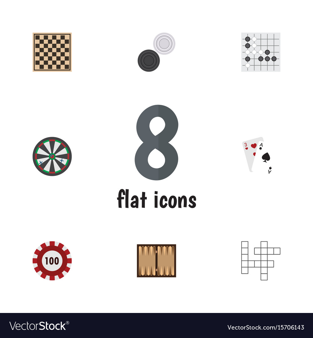 Flat icon entertainment set of chequer guess